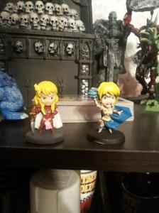 Diva and Maya on my miniature shelf