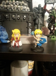Diva and Maya on my miniature shelf